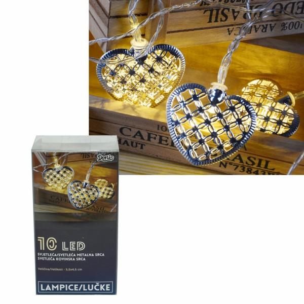 LED svetleća metalna srca 10L, ( 52-561000 )