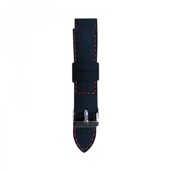 Silikonski kaiš - SK49 Crna boja sa crvenim štepom 24mm