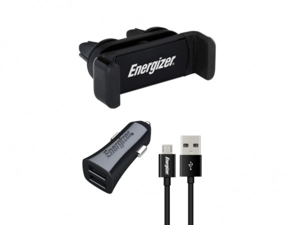 Energizer Max Universal CarKit 2USB+MicroUSB Cable Black 3,4A