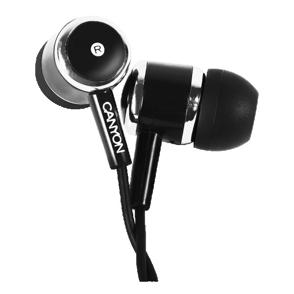 CANYON Stereo earphones with microphone, Black, cable length 1.2m, 23*9*10.5mm,0.013kg ( CNE-CEPM01B )