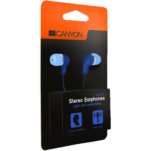 CANYON Stereo Earphones with inline microphone, Blue, cable length 1.2m, 20*15*10mm, 0.013kg ( CNS-CEPM02BL )
