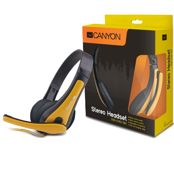 CANYON entry price PC headset, combined 3,5 plug, leather pads, Black-yellow ( CNS-CHSC1BY )