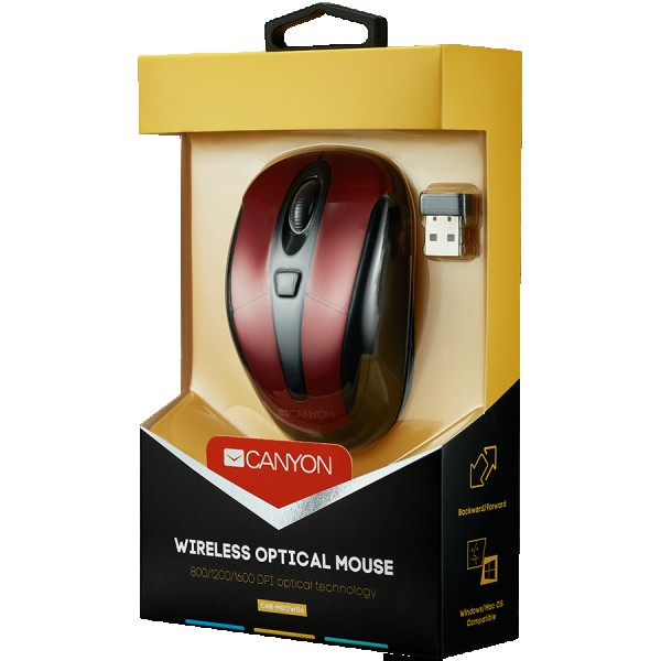 CANYON 2.4GHz wireless optical mouse with 6 buttons, DPI 80012001600, Red, 92*55*35mm, 0.054kg ( CNR-MSOW06R )
